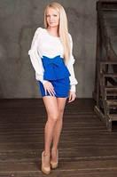 Платье объемный бант на резинке с воротничком украшенным жемчужными бусинами и боковая молнией