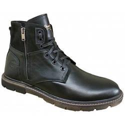 Кожаные мужские ботинки  на меху 40-45 чёрный тайфун+нубук