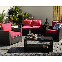 Набор садовой мебели George Home Jakarta Deluxe Conversation Sofa Set in Red- 4 Piece.