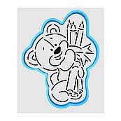 Мишка с карандашами вырубка с трафаретом 12*10 см (TR-1)