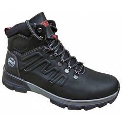 Шкіряні чоловічі черевики на хутрі 40-45 чорний крейзі