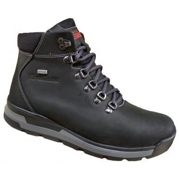 Спортивные зимние мужские ботинки кожа  40-45 чёрный крейзи