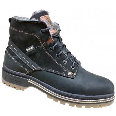 Мужские ботинки зима на меху  40-45 чёрный крейзи+нубук