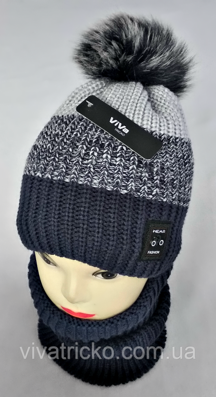 М 5017 Комплект для хлопчика: шапка+манішка, акрил, фліс, різні кольори