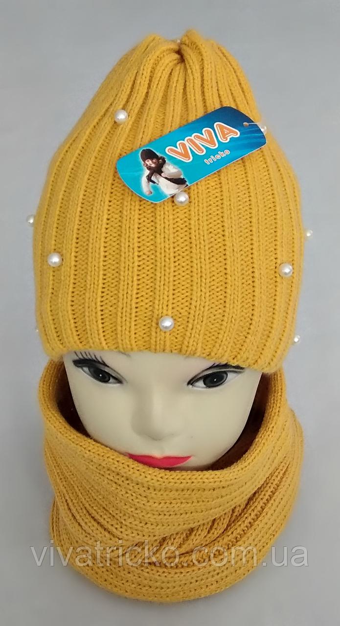 М 5018 Комплект для дівчинки: шапка+баф ( 3 - 12 років), кашемір, фліс