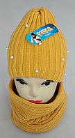 М 5018 Комплект для дівчинки: шапка+баф ( 3 - 12 років), кашемір, фліс, фото 1