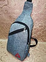 Мужская сумка мини-рюкзак через плечо Convers 90-56 бананка серая Копия