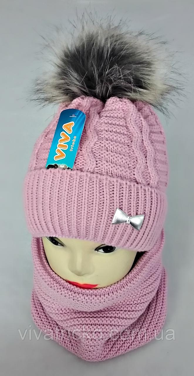 М 5021 Комплект для дівчинки: шапка+баф, кашемір,фліс
