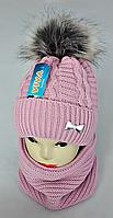 М 5021 Комплект для дівчинки: шапка+баф, кашемір,фліс, фото 1