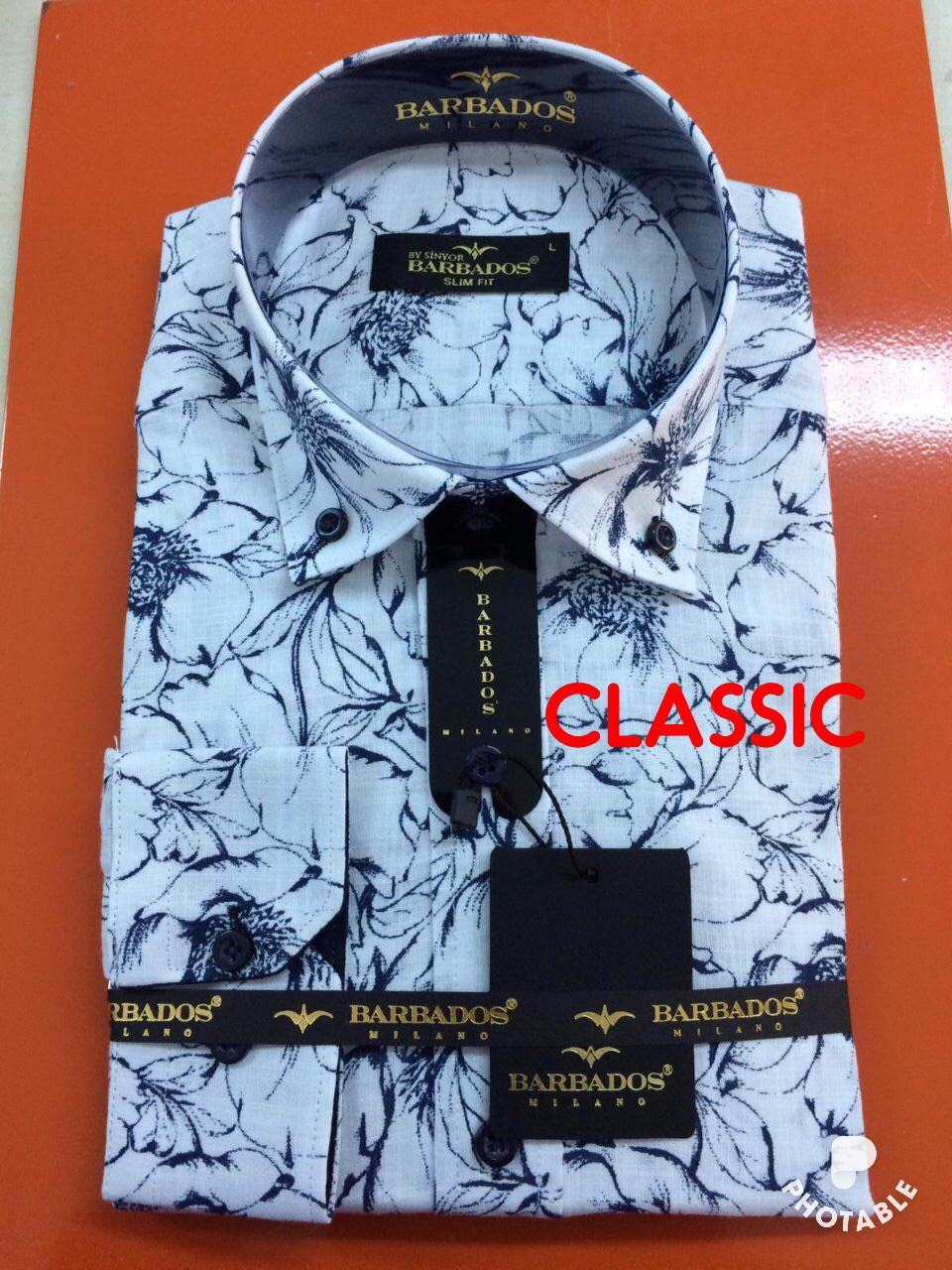 Рубашка длинный рукав Barbados лён - classic