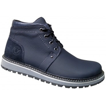 Ботинки мужские на меху  кожаные   39-46 синий флотар