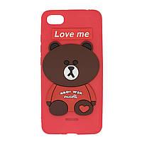 Чехол для Xiaomi Redmi 6a Bear Love Me Red