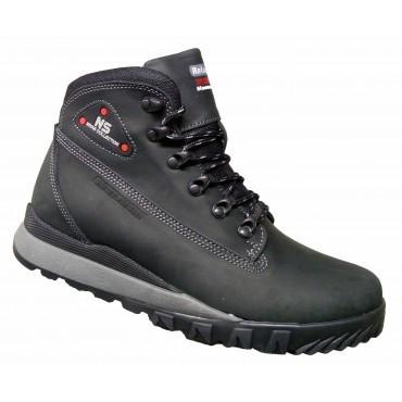 Зимние мужские ботинки кожаные  40-45 чёрный крейзи