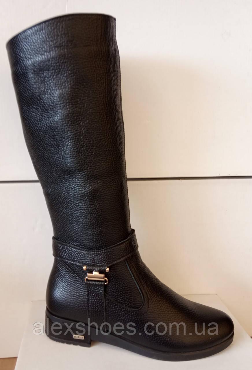 Сапоги высокие зима из натуральной кожи на низком каблуке от производителя модель ЛЕ4К