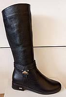 Сапоги высокие зима из натуральной кожи на низком каблуке от производителя модель ЛЕ4К, фото 1