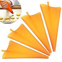 Набор силиконовых мешков для кондитерских  насадок 4 шт оранжевые