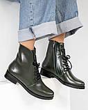Стильные демисезонные женские ботинки на шнуровке оливковые, фото 2