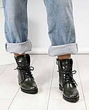 Стильные демисезонные женские ботинки на шнуровке оливковые, фото 3
