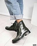 Стильные демисезонные женские ботинки на шнуровке оливковые, фото 5