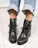 Стильные демисезонные женские ботинки на шнуровке оливковые, фото 4