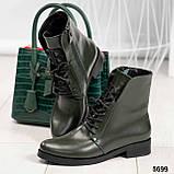 Стильные демисезонные женские ботинки на шнуровке оливковые, фото 7