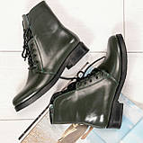 Стильные демисезонные женские ботинки на шнуровке оливковые, фото 8