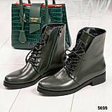 Стильные демисезонные женские ботинки на шнуровке оливковые, фото 9