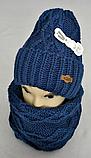 М 5024 Комплект жіночий-підлітковий: шапка+баф (10-70 років), марс, розмір вільний, фото 3