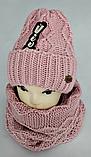 М 5024 Комплект жіночий-підлітковий: шапка+баф (10-70 років), марс, розмір вільний, фото 4