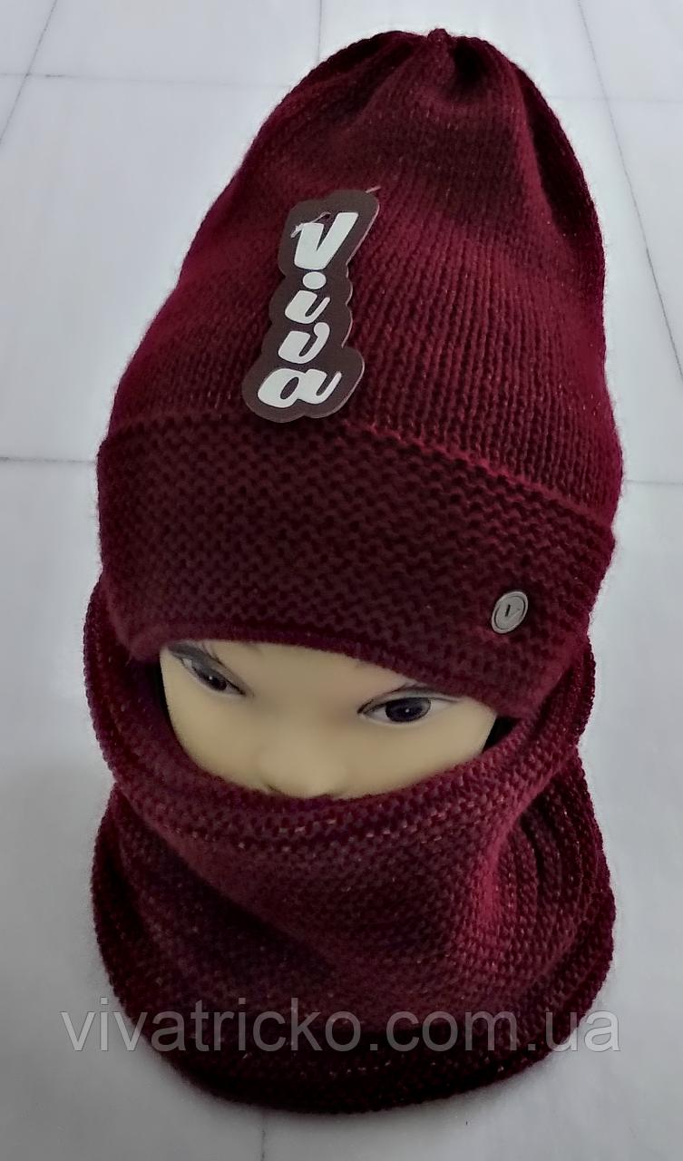 М 5025 Комплект жіночий-підлітковий :шапка+баф, марс, фліс, розмір вільний