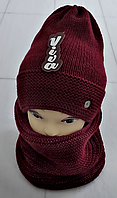 М 5025 Комплект жіночий-підлітковий :шапка+баф, марс, фліс, розмір вільний, фото 1