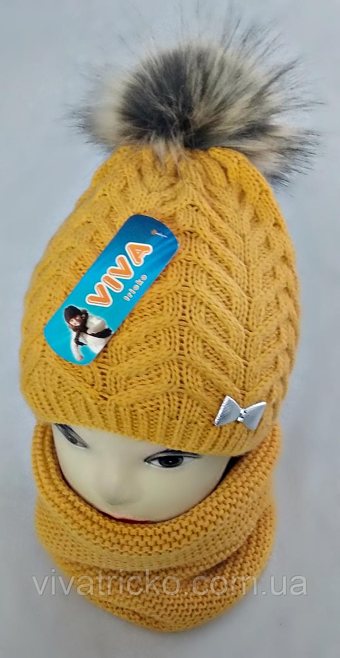 М 5027 Комплект для дівчинки: шапка+баф, кашемір,фліс