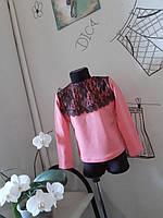 Джемпер з гіпюром і мереживом колір пудра Детская кофта пудра с кружевом нарядная