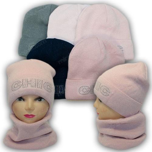 Детский комплект - шапка и шарф хомут для девочки