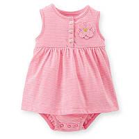 Платье-боди розовое в полоску Сarters (6М,18М)