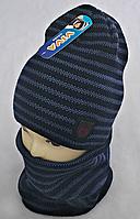 М 5034 Комплект для хлопчика-підлітка: шапка в полоску+баф (3 - 15 років), акрил, фліс