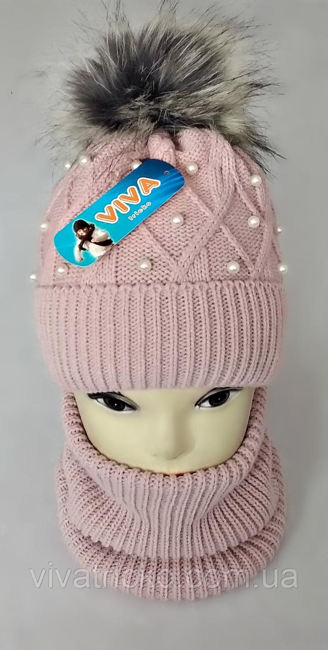 М 5035 Комплект для дівчинки: шапка+баф ( 3 - 12 років), кашемір, фліс