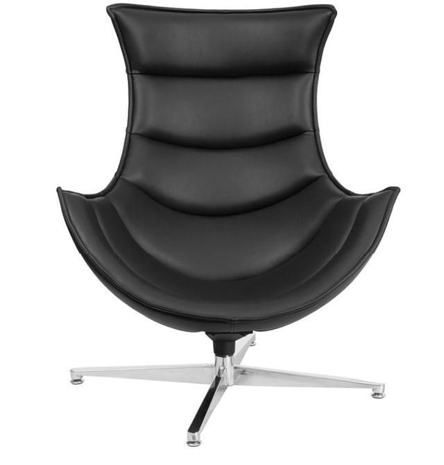 Кресло Ретро, экокожа, нержавеющая сталь, поворачивается, цвет черный