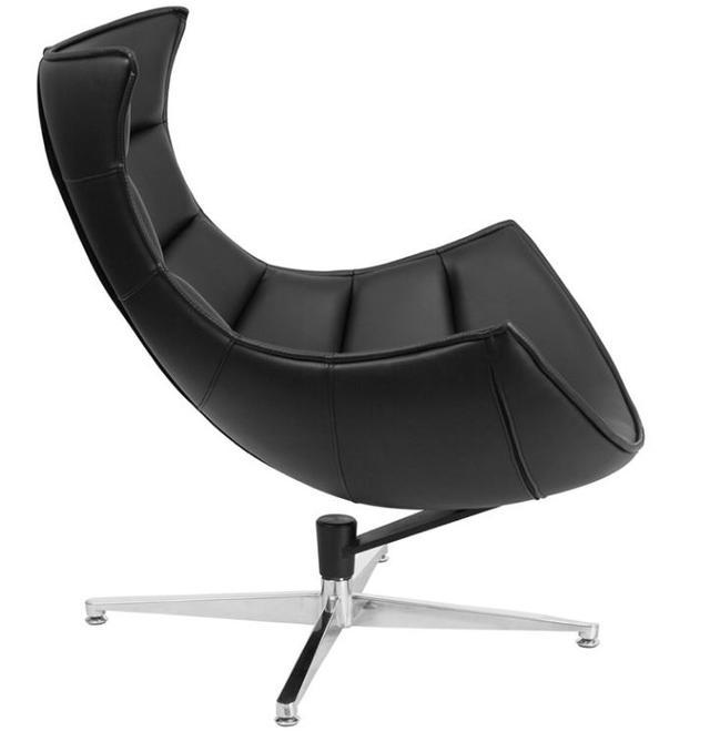 Кресло Ретро, экокожа, нержавеющая сталь, поворачивается, цвет черный (4)