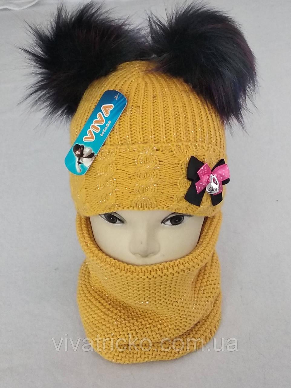 М 5037 Комплект для дівчинки шапка з двома помпонами +баф (3 -8 років), кашемір, фліс