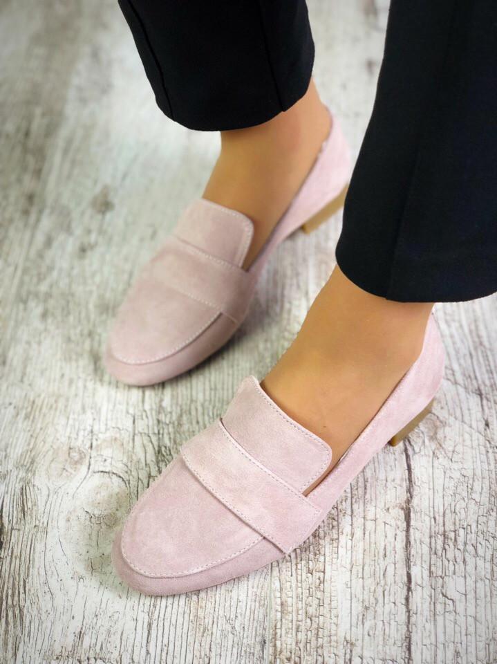 Замшевые туфли лоферы 37 р пудра