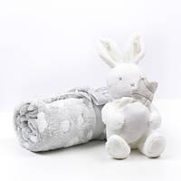 Плед с игрушкой Cuddle Baby Зайка в подарочной коробке Grey (CHI-POLB)