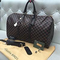 Сумка дорожная LV Louis Vuitton Keepall 55 коричневая шахматка