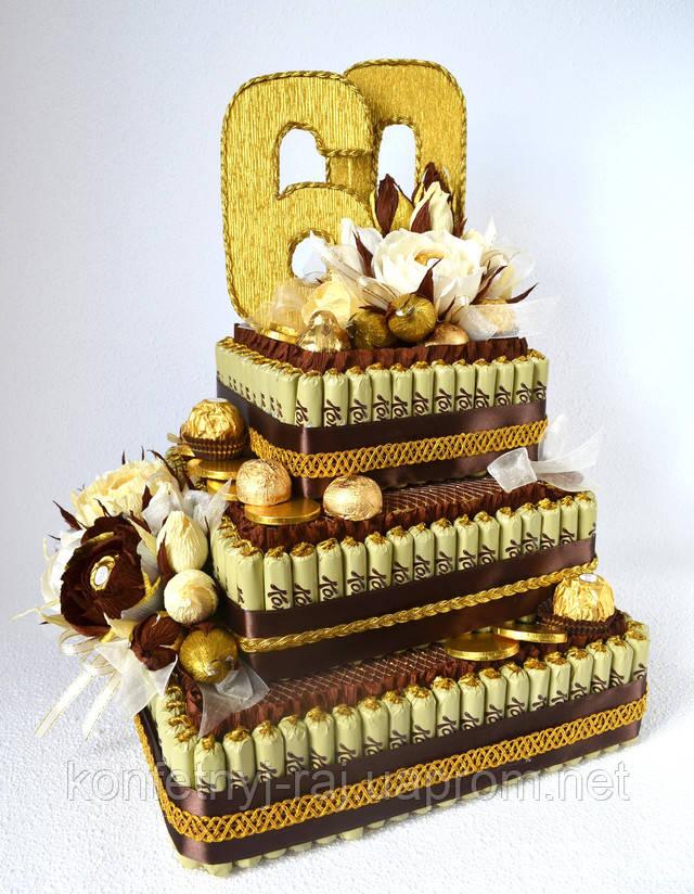 Торт на весілля із цукерок