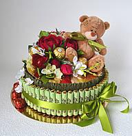 """Торт-шкатулка из конфет """"Красные розы"""""""