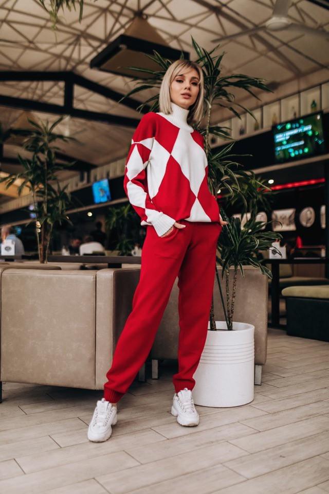 Женский стильный костюм: свитер+штаны, 2 цвета