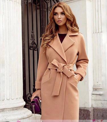 Пальто до колена с поясом и карманами кашемир, фото 2