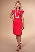 Cтильное офисное платье с кружевом р.42