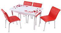 Стол раздвижной обеденный 1005 Kirmizi cicek,набор, кухонный стол и 4 стула,Комплект  кухонный стол