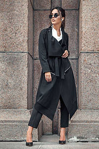 Черный женский кардиган асимметричного кроя